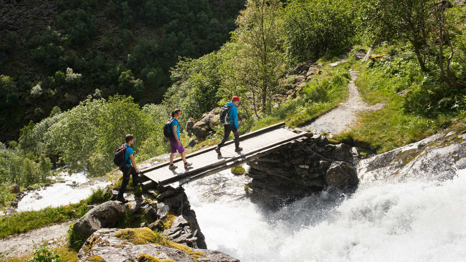 3 personer som går over trebro uten rekkverk over dundrende foss i Aurlandsdalen om sommeren