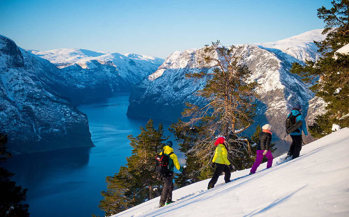 4 people with snowshoes walking in snow in the mountain overlooking the Aurlandsfjord on a sunny winters day