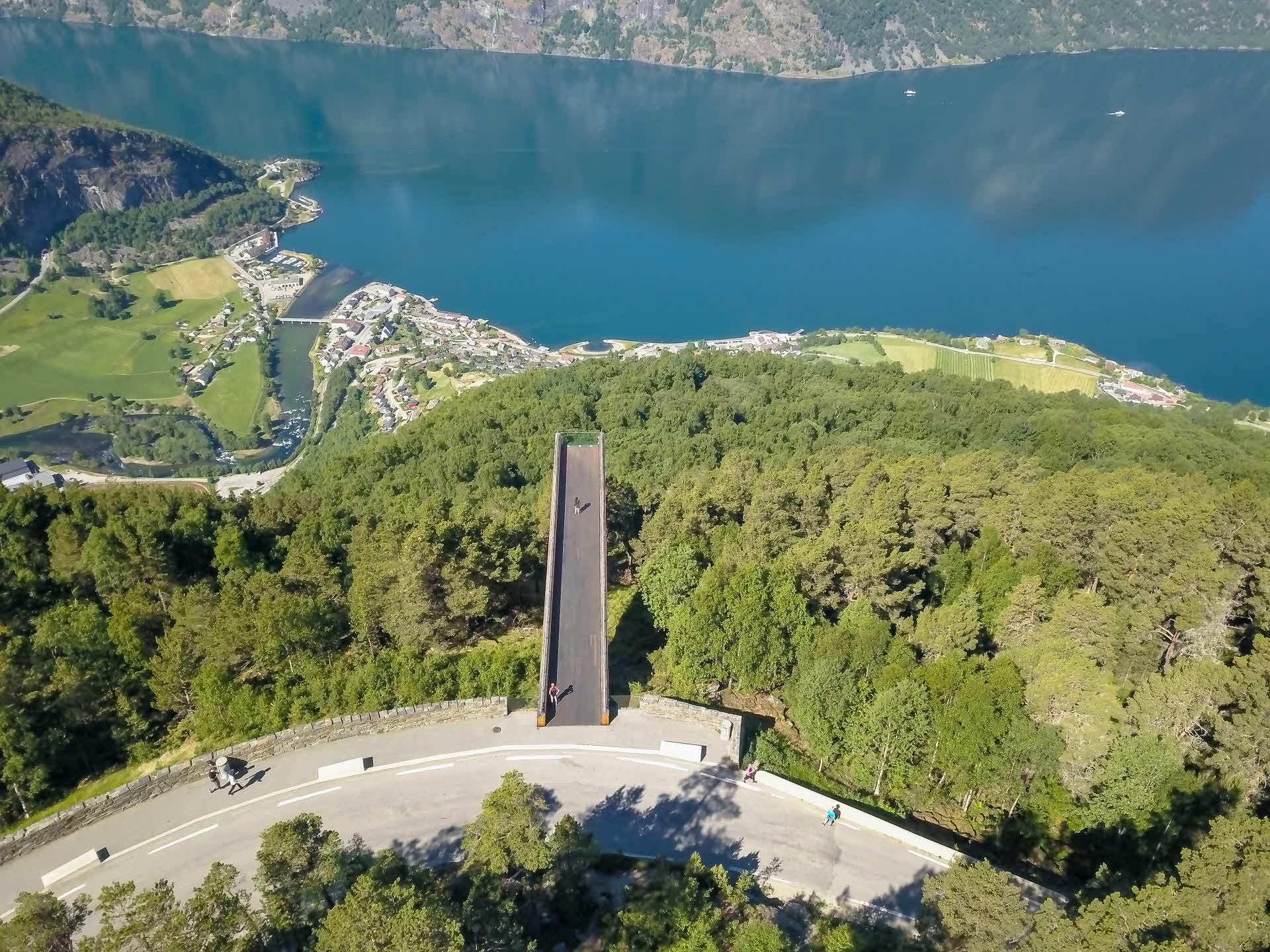 Stegastein Viewpoint from birds eye view overlooking Aurlandsfjord in summer