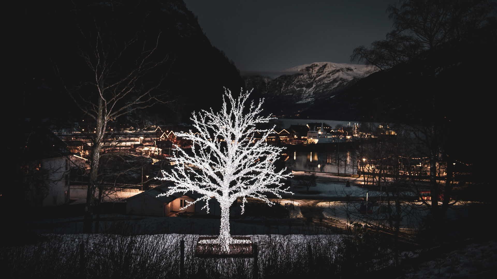 Flåm opplyst av julebelysning, snø på bakken og fjellene og et hvitt dekortre i forgrunnen