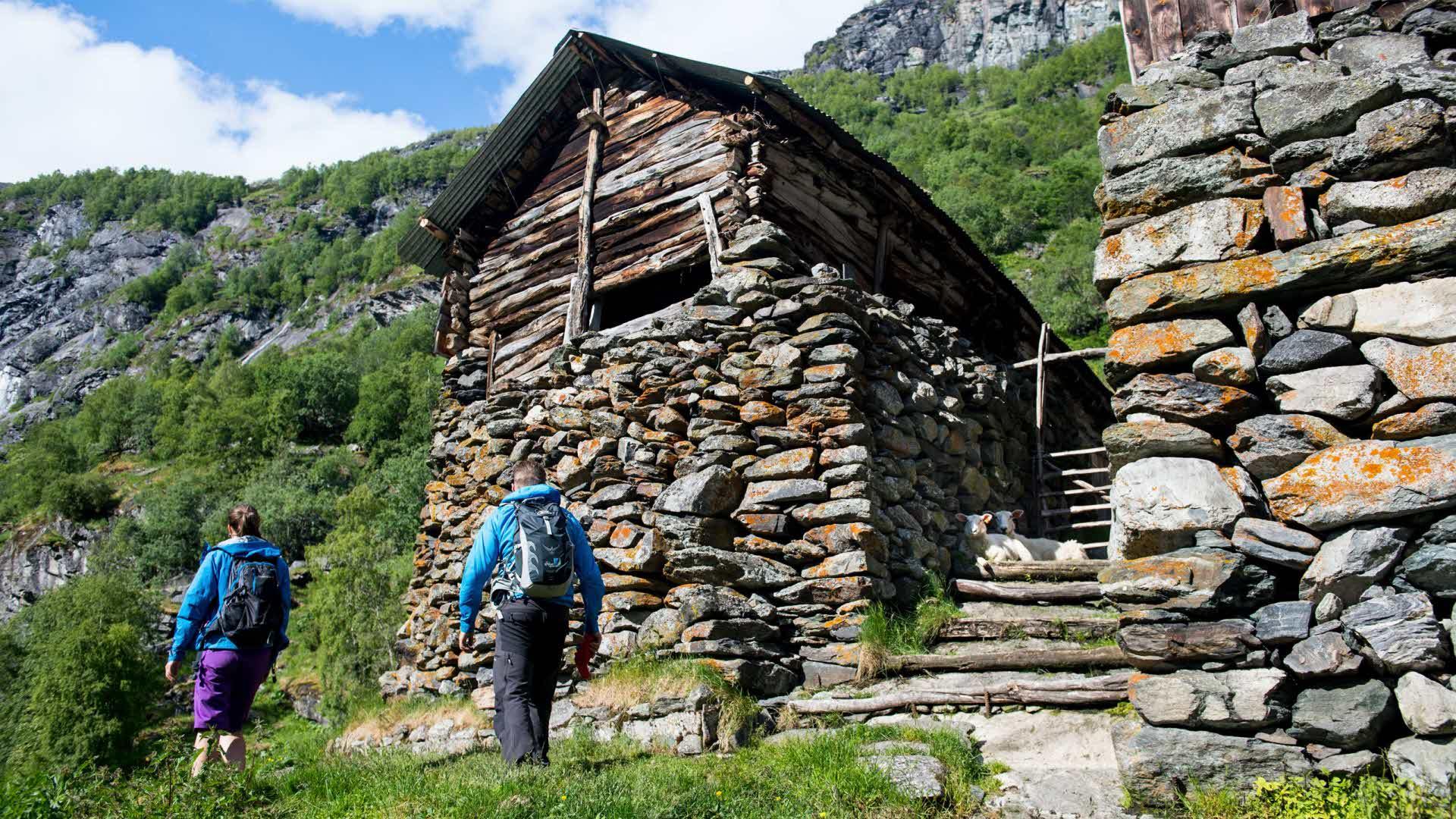 2 personer som vandrer ved gammel steingård i Aurlanddalen sensommer i bratt terreng og høye fjell