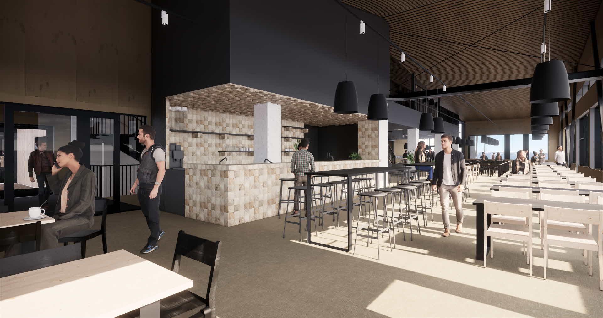 Folk nyter den spektakulære utsikten og nordiske designen til den romslige restauranten ved toppstasjonen til Voss Gondol.