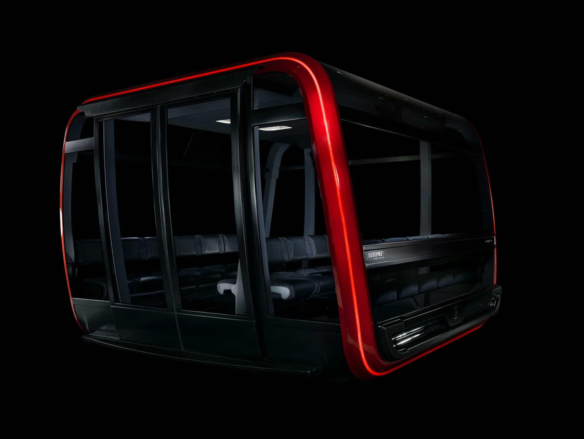 En av de 9 gondolkabinene med kapasitet på 34 personer. Kabinene har store vinduer og behagelige seter.
