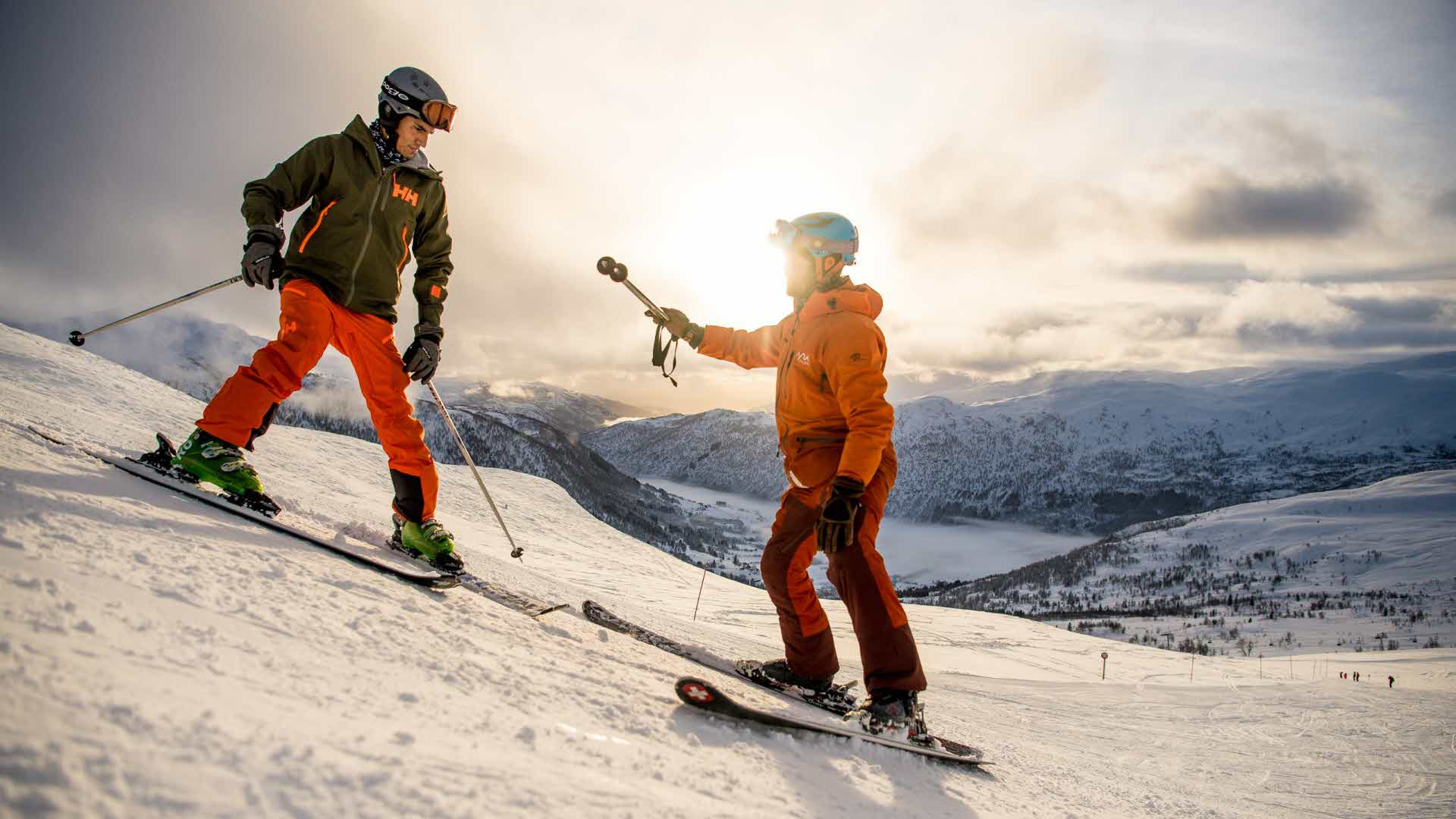 Ski instructor and pupil having a ski lesson in Myrkdalen Mountain Resort