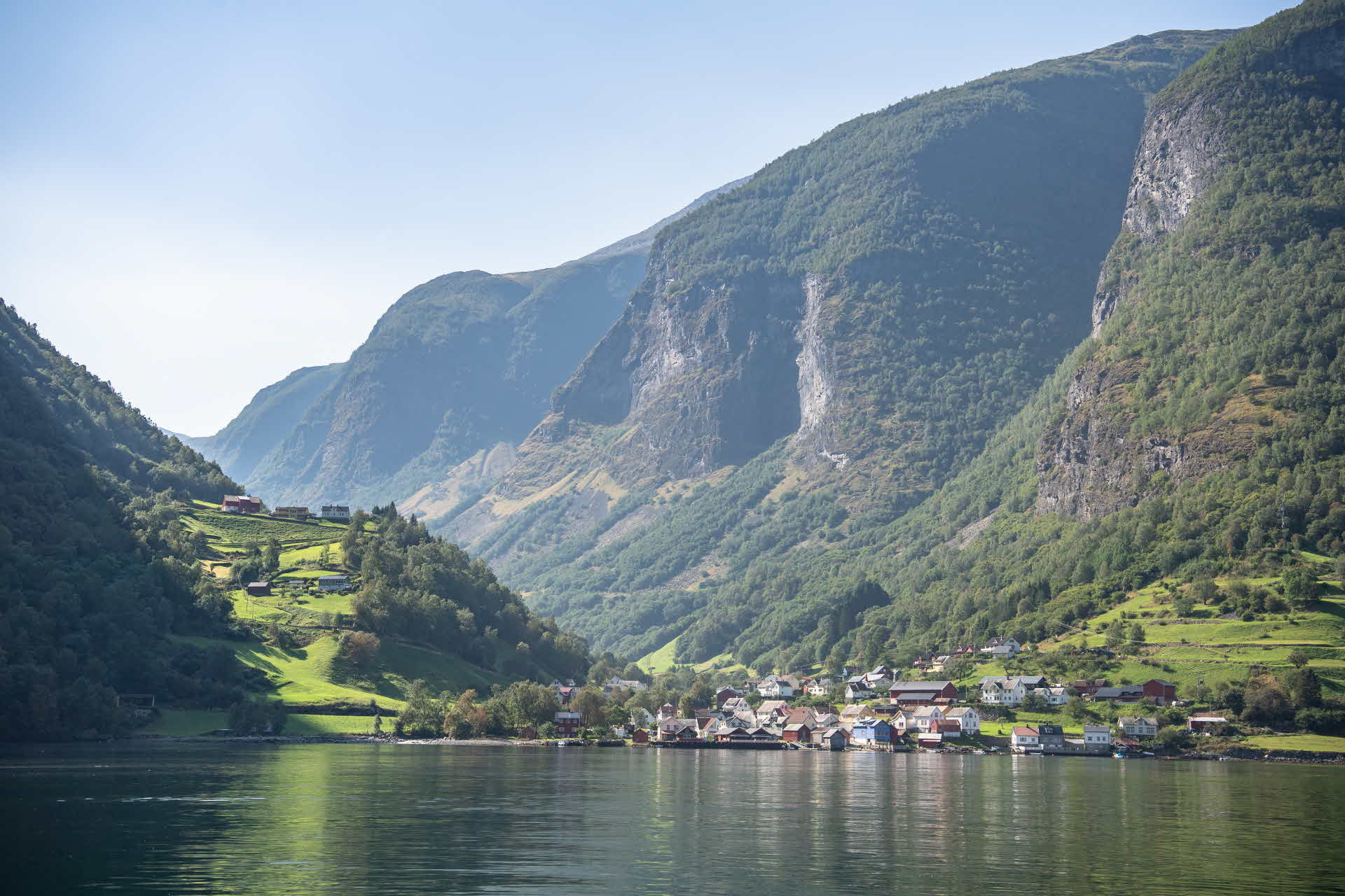 Undredal, viewed from the Aurlandsfjord on a fine summer day