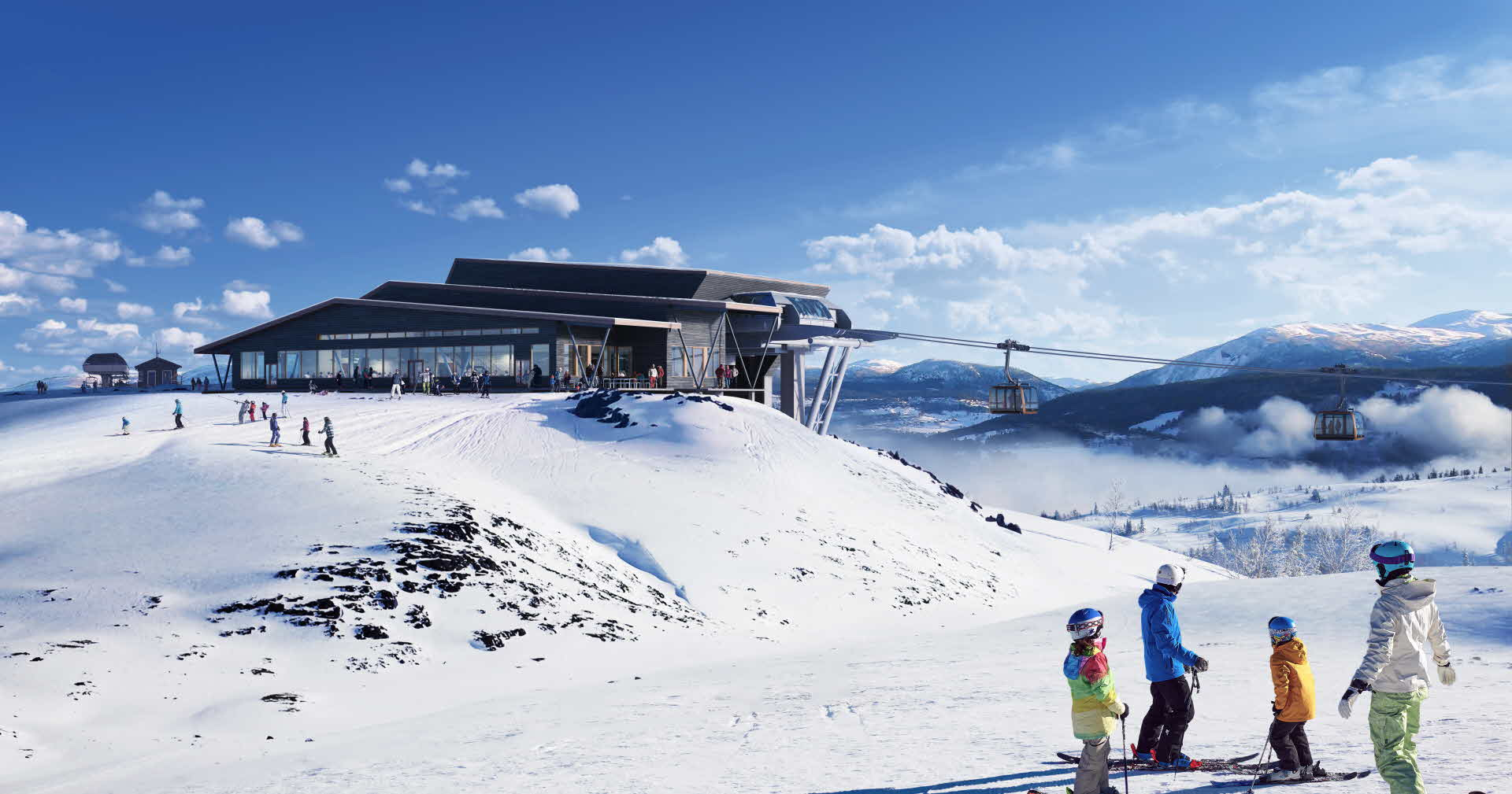Voss Gondola top station outside restaurant in winter seen from Hangurstoppen mountain. People outside enjoying the sun in their ski gear