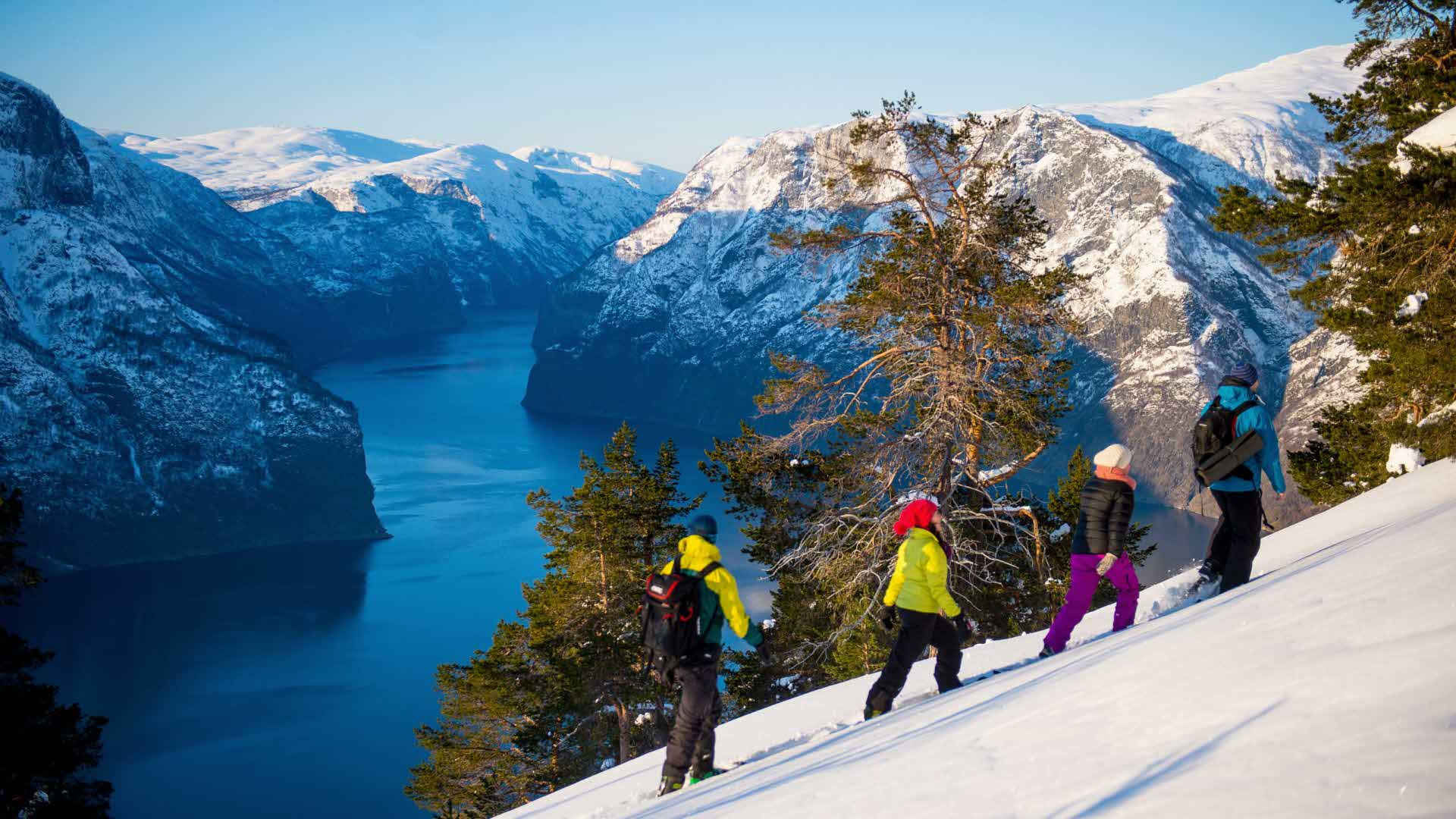 Four people snow shoe hiking with view to Aurlandsfjord and white mountain landscape