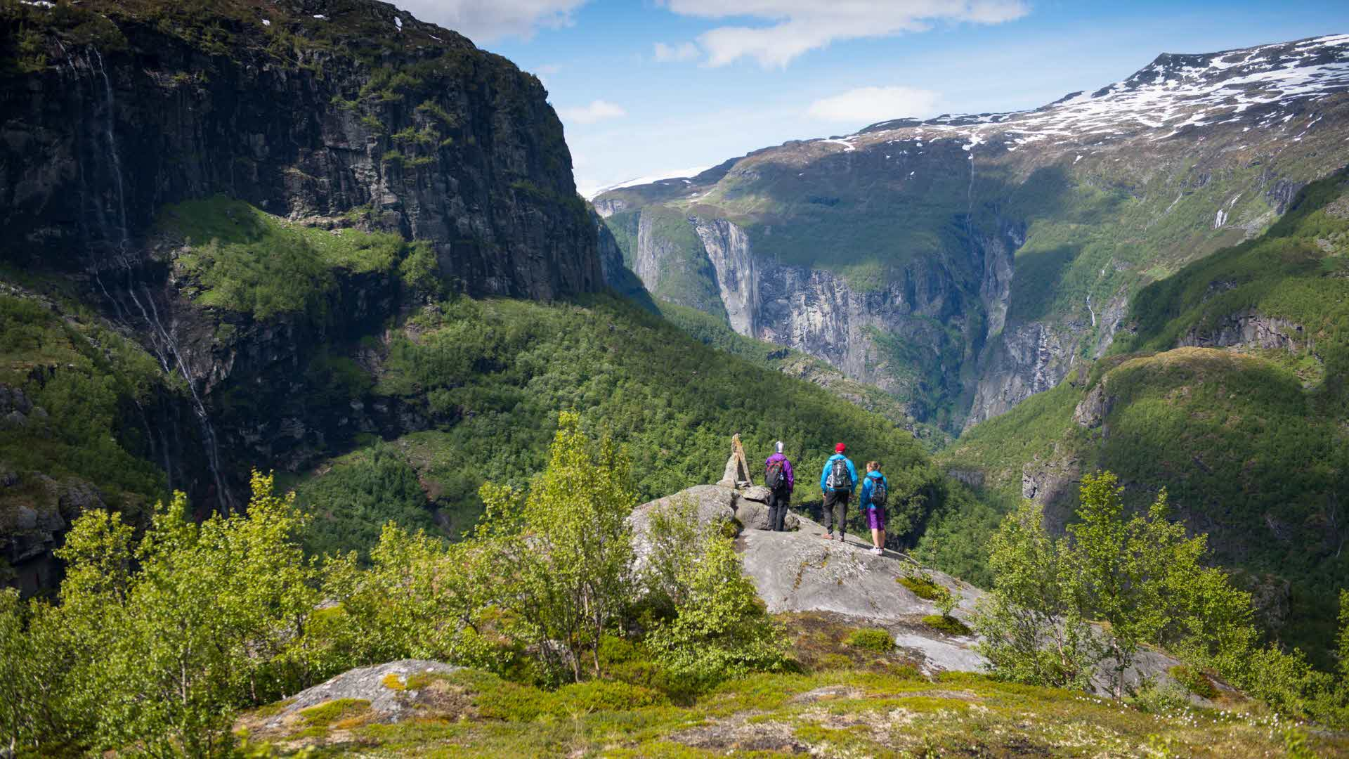 A group of hikers standing on a rock and looking down over the Aurlandsdalen Valley