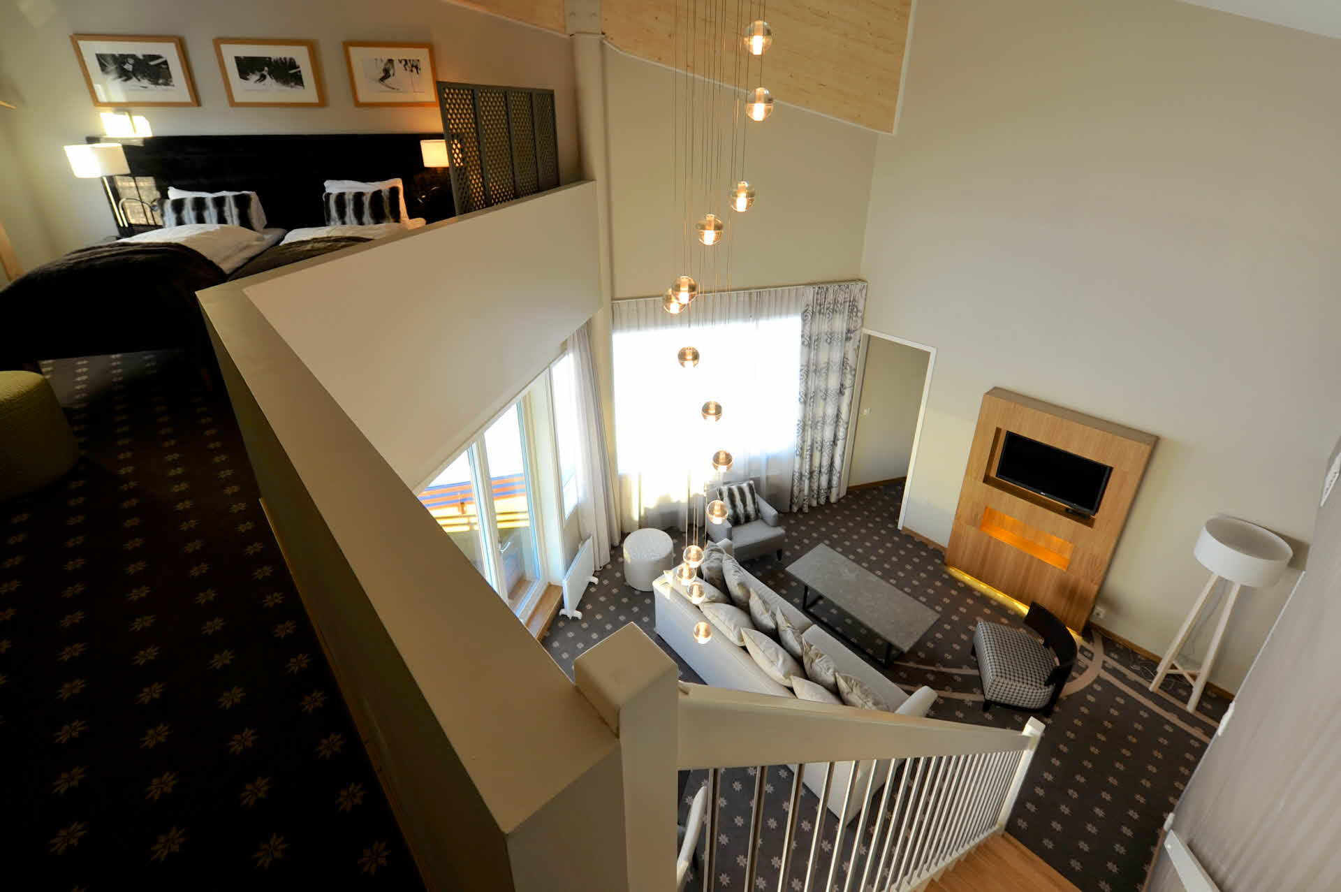 The living room in the large suite at the Myrkdalen Hotel, viewed from the mezzanine