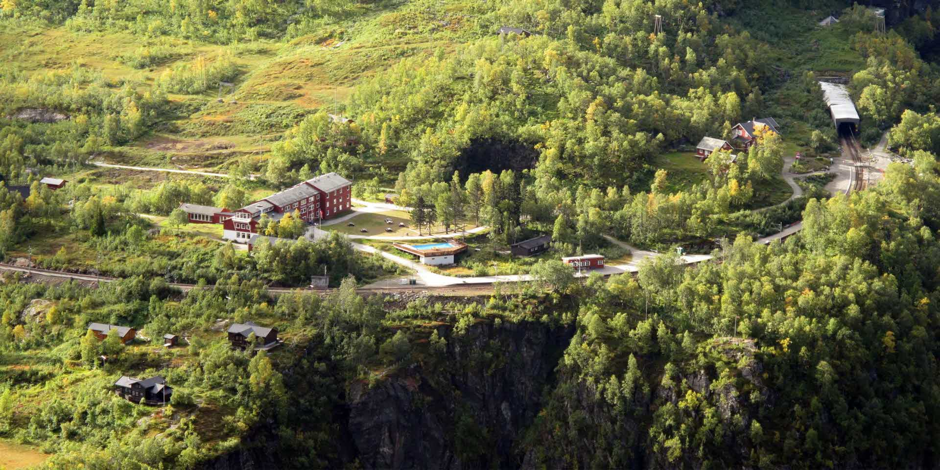 Vatnahalsen and the surroundings seen from above in summer