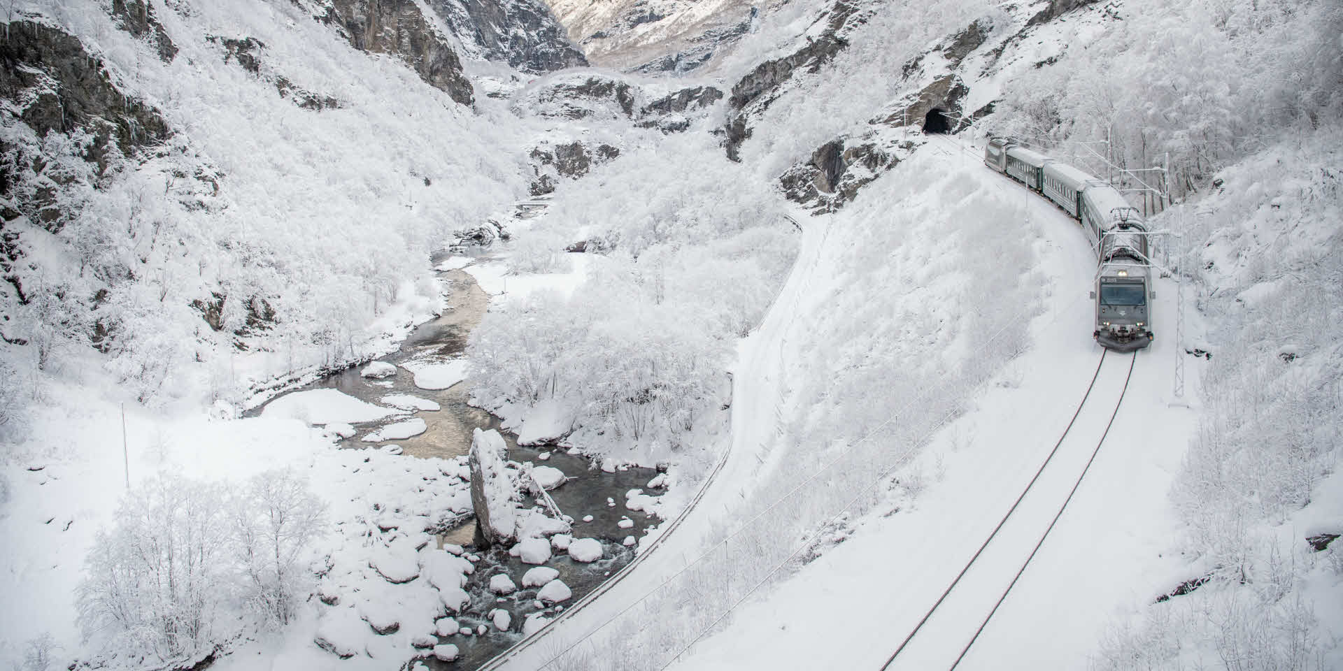 The Flam Railway in winter landscape.
