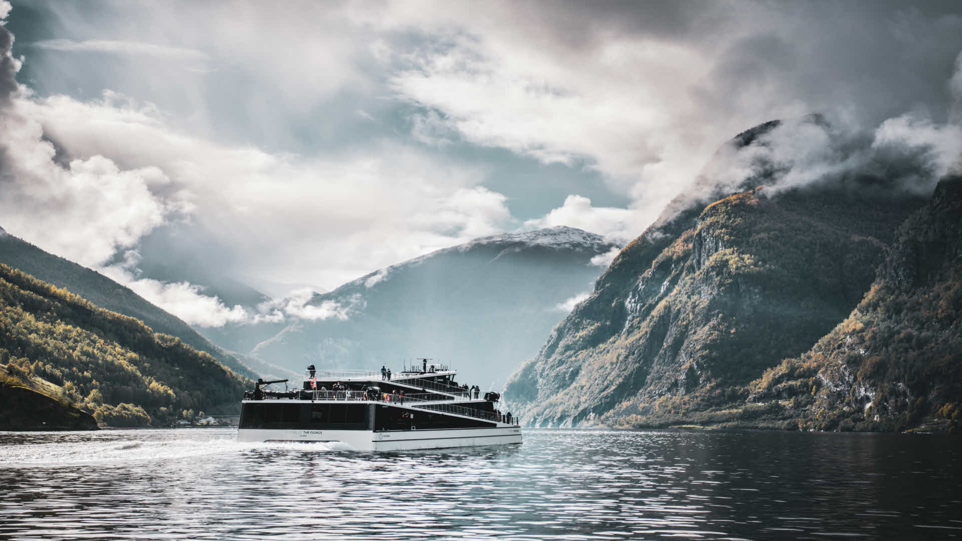 Future of The Fjords sailing on the Aurlandsfjord in cloudy weather