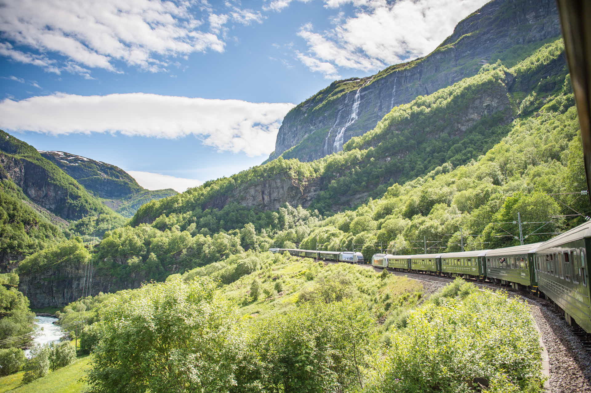 Two trains on the Flåm Railway meet in a rich green valley in summer