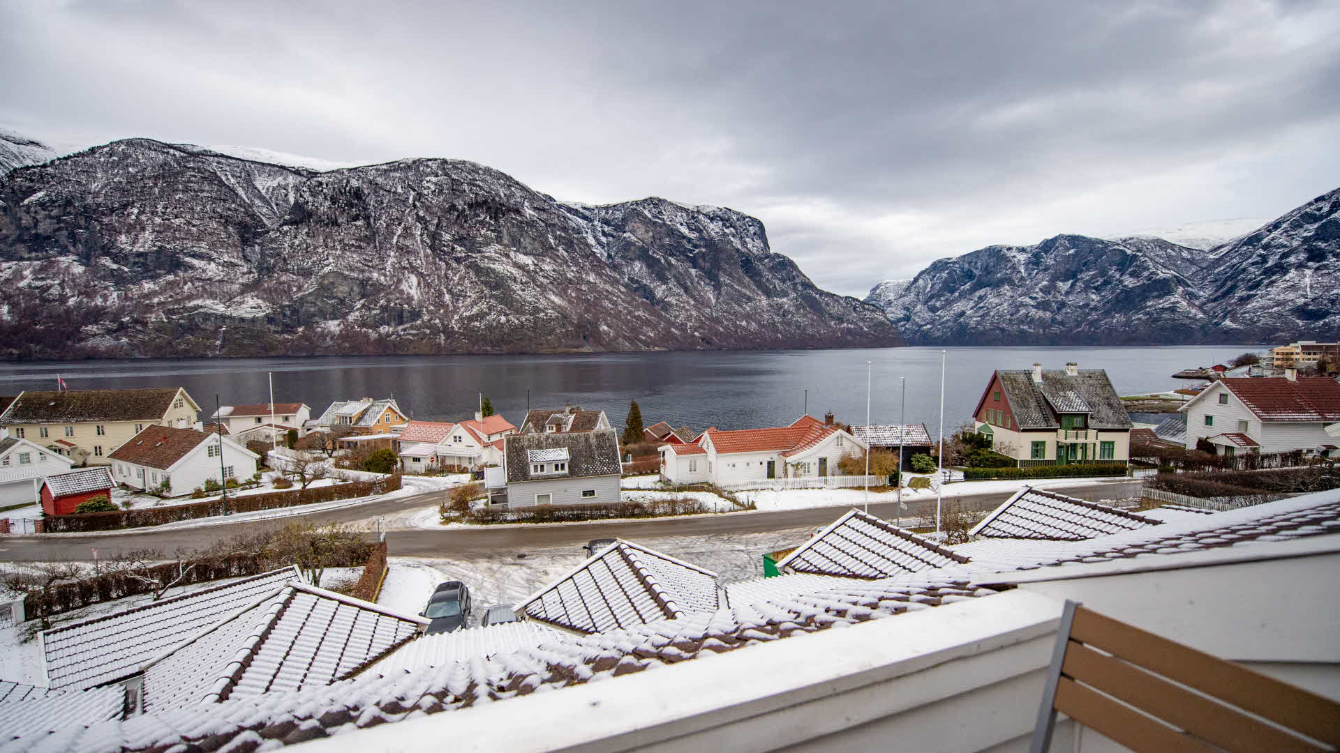 View from balcony at Hotel Aurlandsfjord in winter overlooking UNESCO Aurlandsfjord