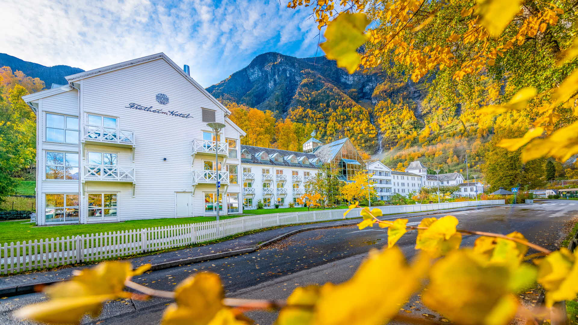 accommodation in flam Fretheim Hotel exterior accommodation in flam Fretheim Hotel exterior in beautiful summer in sunshine tall mountains in background