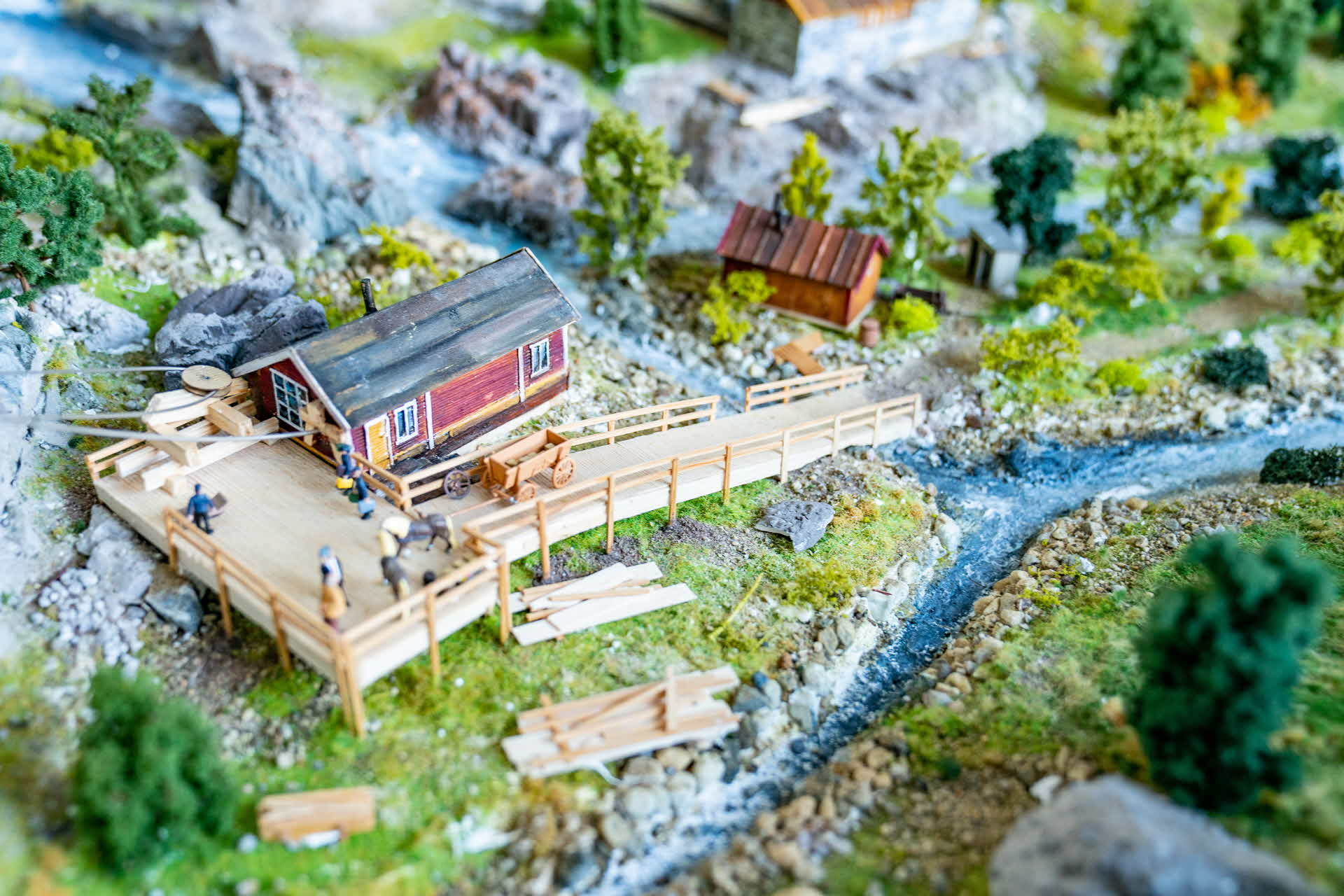 Diorama of the navvy life by the Ofot railway during its construction early 19th century