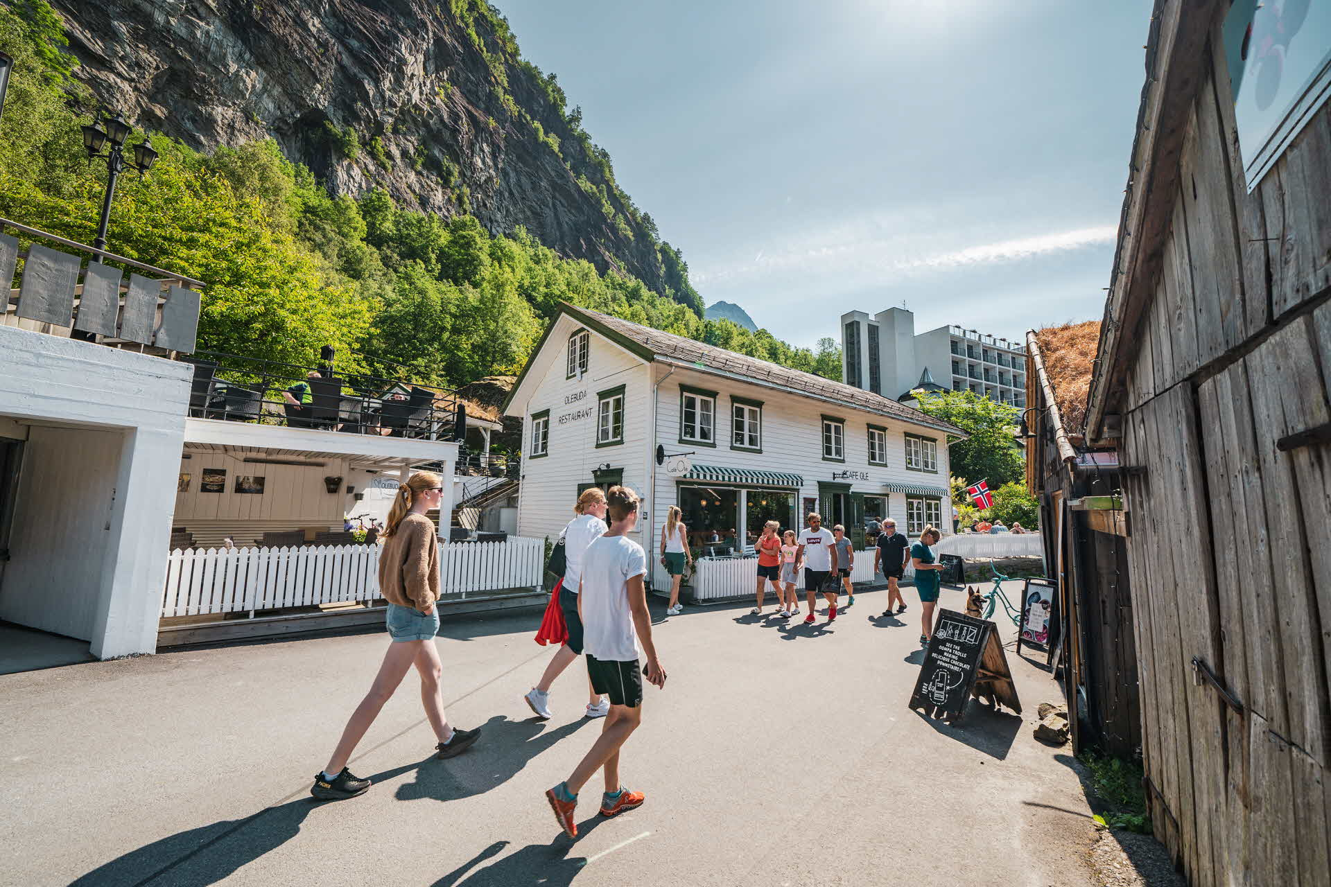 People walking in Geiranger town centre